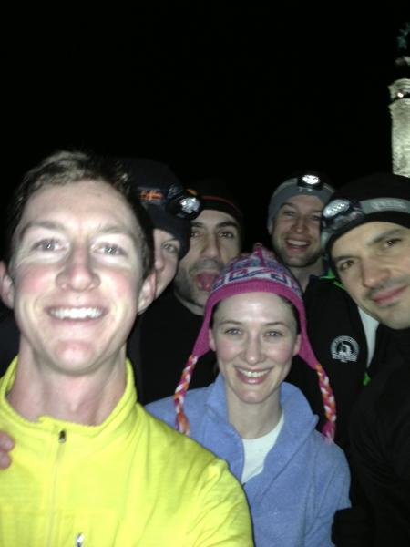 Yale Tri Team with East Rock monument in background (Dec 2012)