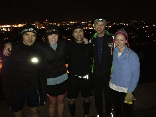 Yale Tri Team overlooking New Haven from the top of East Rock Park (Dec 2012)