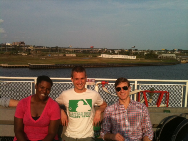 Triathletes use a lot of transportation modes including ferries. Michelle, Jon, and Andy on the ferry over to Montauk.